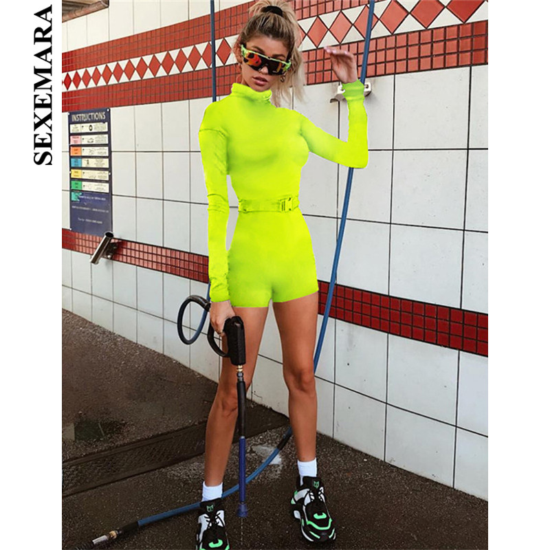 BOOFEENAA Fluorescent Color Long Sleeve Romper with Buckle Belt Spring Streetwear Zipper Neon Sexy Bodycon Jumpsuit Women C87AD3