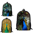 Personalized animal school bags for teenager girls,children's Shoulder bookbags,Peacock 3D print lightweight back pack for women