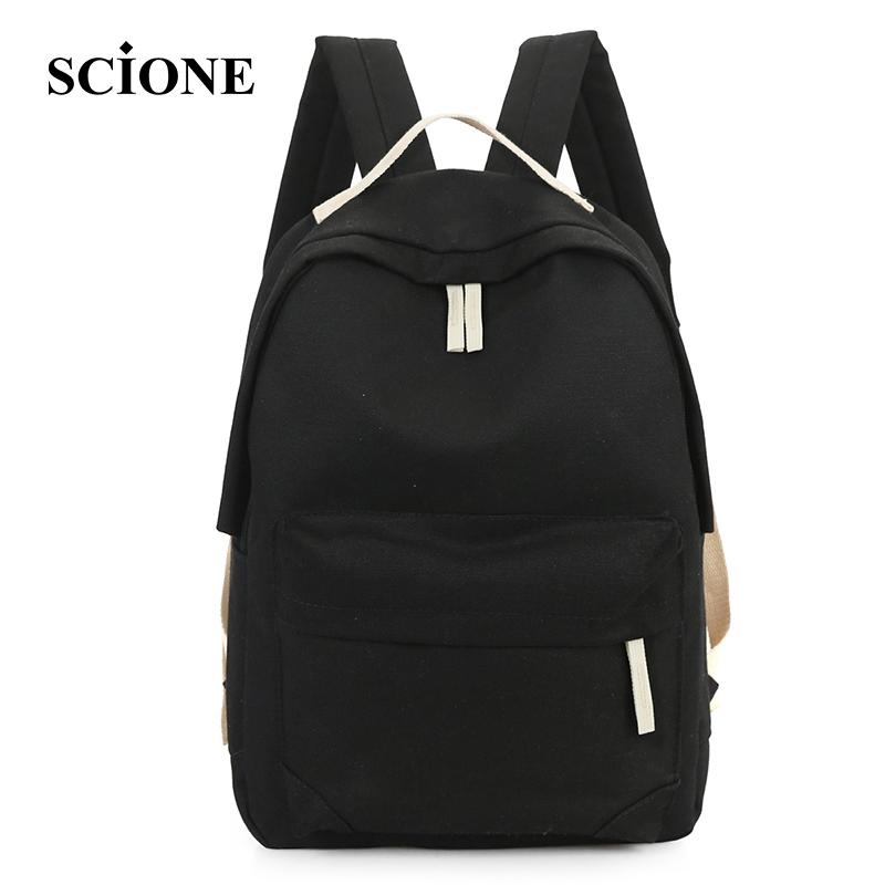 Prix pour Jolie style solide conception simple étudiant sacs à dos mode femme toile voyage sac à dos beau fille épaule sac bolsas ZZ259