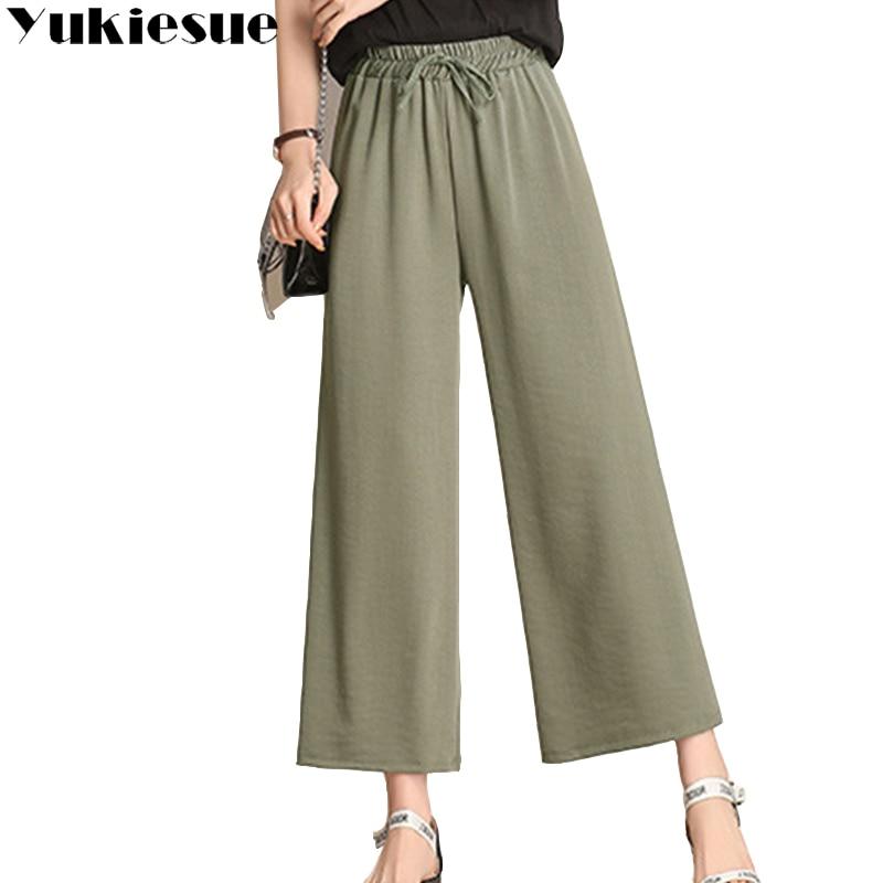 Cotton linen trousers for women   pants   2018 autumn summer high waist elastic loose casual   wide     leg     pants   female Plus size XXXXL