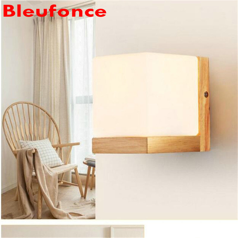 Solid Wood Wall Light  E27 bedside Lamp Bedroom wall lamp Simple Modern Creative living Room Balcony Aisle Wall Lamp HZ25 wall light 12w led wall lamp bedroom bedside living room hallway stairwell balcony aisle balcony lighting ac85 265v hz64