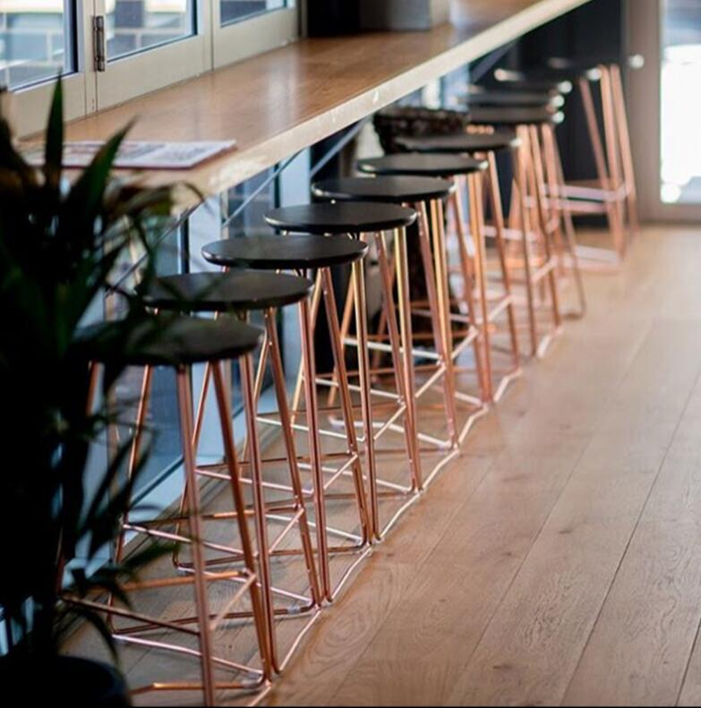 Nordic solid wood bar chair iron bar stool rose gold leisure bar creative table and chair stool