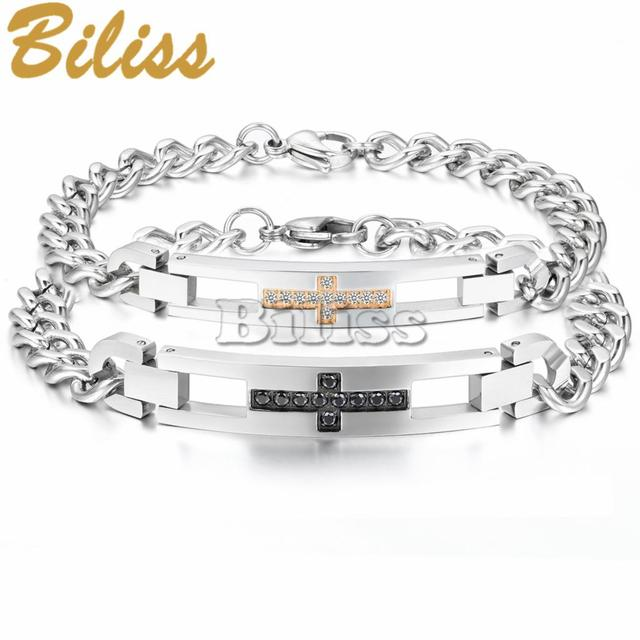New His and Hers Bracelet Anniversary Gift Cross Design with Crystal Stainless Steel Chain Couple Charm Bracelet Bangle pulseira