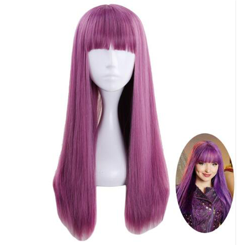 Descendants 2 Mal Purple Mix Wig Cosplay Costume Women Long Straight Heat Resistant Synthetic Hair Party Role Play Wigs + Cap