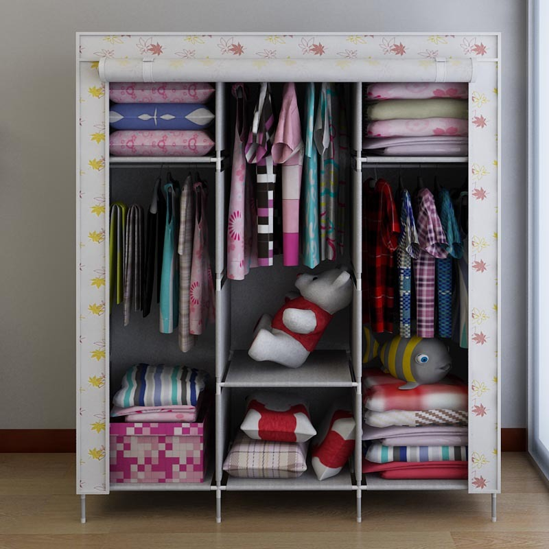 Reinforcing Steel Large Double Wardrobe Simple Cloth Wardrobe Closet Cloth  Cover Dust Hanging Clothes Storage Cabinets Shipping In Wardrobes From  Furniture ...