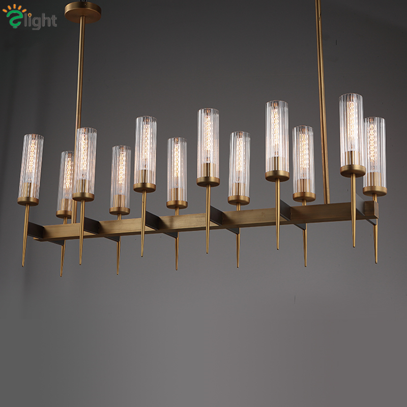 American Villa RH Dining Room Edison E27 Led Pendant Lights Straight Plate Gold Metal Lustre Luminarias Led Rod Hanging Lamp