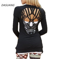 DASUANG Skull Hollow Out Women Sweaters Knitted Long Sleeve Cardigans Cardigans Sexy Blusas Mujer Body Top