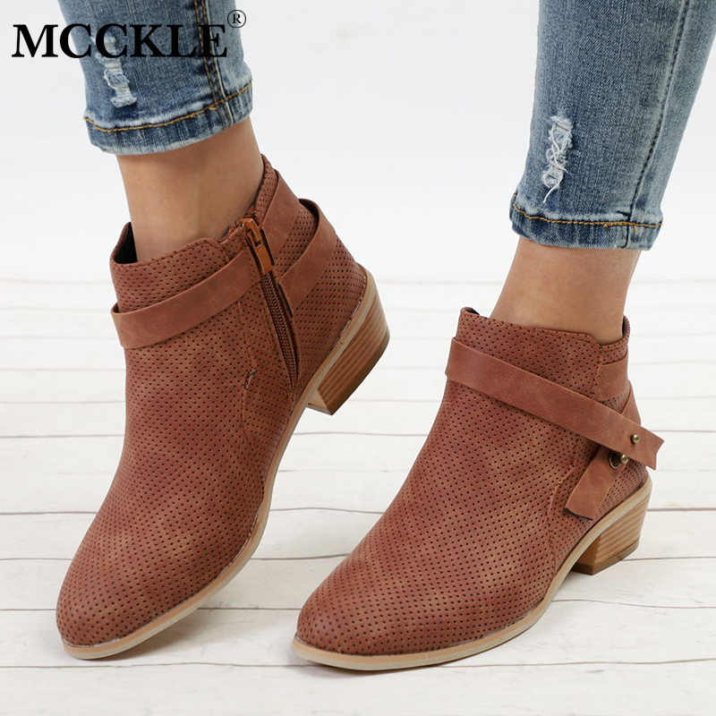 купить MCCKLE Women Ankle Boots Plus Size Plaform Chunky Heel Shoes For Female Zipper Strap Wood Low Heels Casual Ladies Short Botas по цене 1299.48 рублей