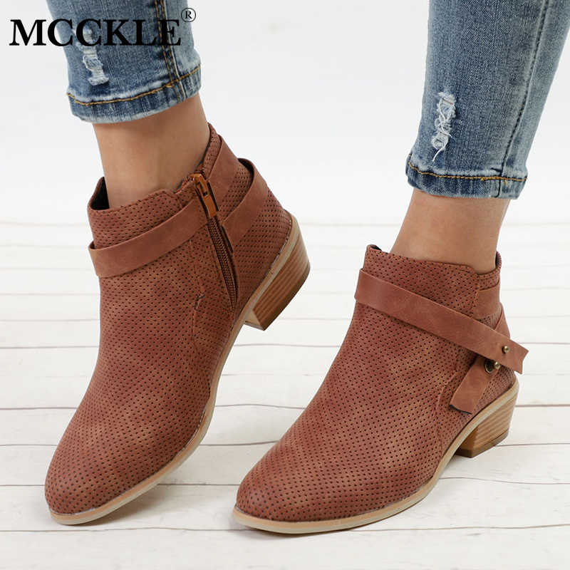 70390810ad34 MCCKLE Women Ankle Boots Plus Size Plaform Chunky Heel Shoes For Female  Zipper Strap Wood Low
