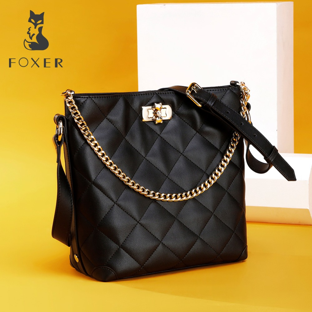 FOXER Brand Women Crossbody Bag Large Capacity Shoulder Bags Lady Bucket Bag Fashion Chain Lattice Bag with strap for Girls