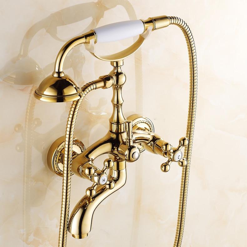 Gold Wall Mounted Bath Hand Shower Set Brass Bathroom Dual Handles Mixer Tap Bathroom Faucet Set