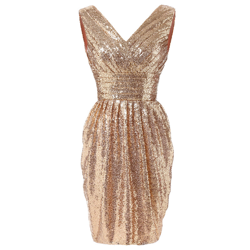 W.JOLI Short V-Neck Evening Dress Glitter Sequined Bling Prom Gown Bride Banquet Pleat Strapless Wedding Party Dresses