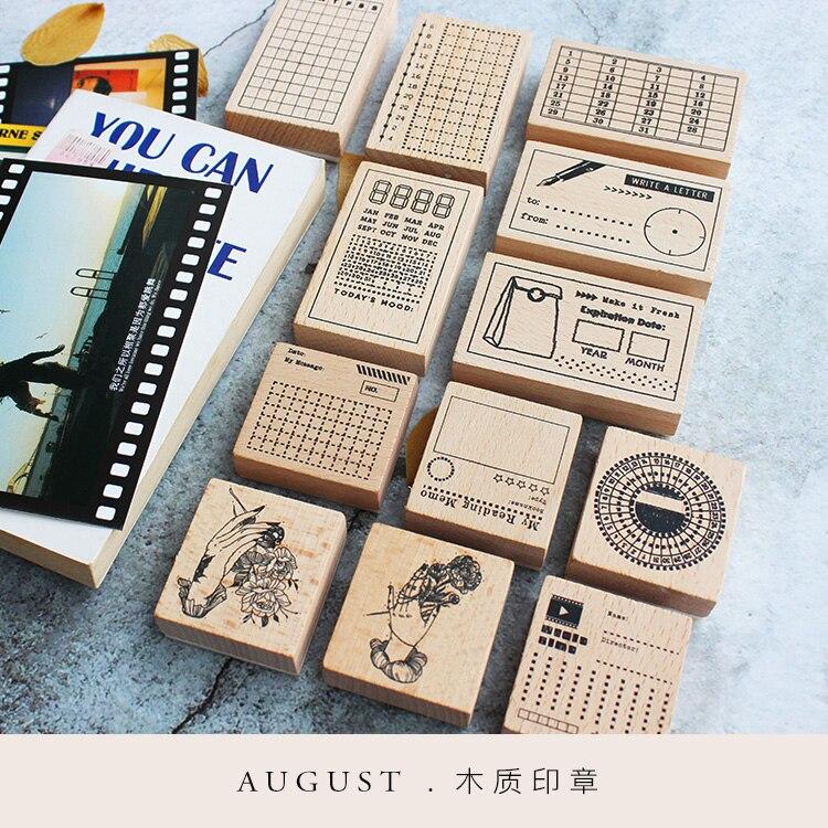 Moodtape selo claro de madeira do vintage para diy scrapbooking/álbum de fotos função decorativa carimbo perfurador plano notas selo de borracha
