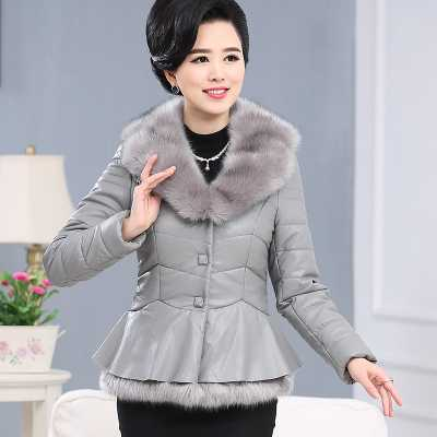 Large Size Mother Leather Coat 2016 New Winter and Autumn Women Middle-aged PU Jacket Coats With Fur Collar Female Coat A4235 new brand women s middle aged and old long down jacket female bigger sizes mother fur collar clothing winter coat printing hot
