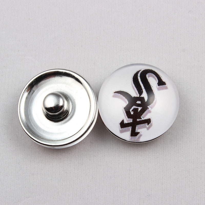 18mm Glass Baseball Chicago White Sox Snap Button Charms Fit For Snap Button Bracelet (20 Pcs)