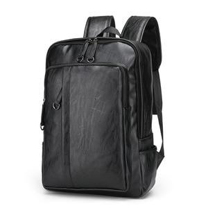 Image 1 - كمبيوتر محمول حقائب جلدية للرجال على ظهره 15.6 بوصة شنطة ظهر للكمبيوتر المحمول الذكور حقائب مقاوم للماء الأعمال السفر متعددة الوظائف على ظهره