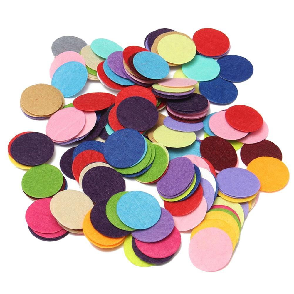 200pcs Round Colorful Felt Fabric Pads Patches Circle Felt Pads Fabric Flower Accessories Handmade Applique Materials 2-3cm