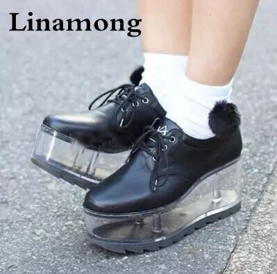 Primavera nova personalidade chegada bonito sapatos de fundo transparente pode ser colocado enfeites meninas sapatos de fundo grosso sapatos de plataforma das mulheres