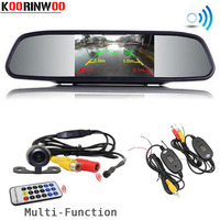KOORINWOO Wireless Car Monitor Mirror Ajustable Parking Guide Line Car Rear View Camera Front Camera Multi