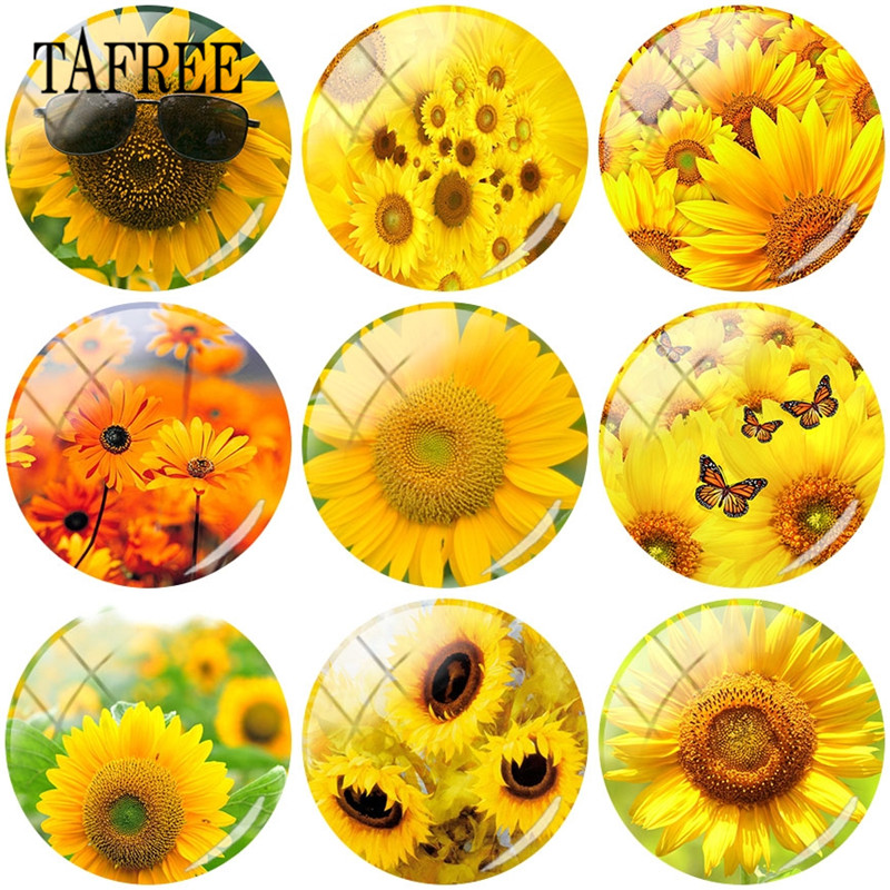 TAFREE DIY 25mm Glass Cabochon Dome With Yellow Color Sunflower Art Picture Flatback Camo Jewelry Findings For Bracelet Earrings in Jewelry Findings Components from Jewelry Accessories