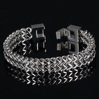 Fate Love Big Bracelet Men Jewelry Stainless Steel Double Layer Hand Chain Mens Bracelets 2017 Fashion Jewellery Pulseras Hombre