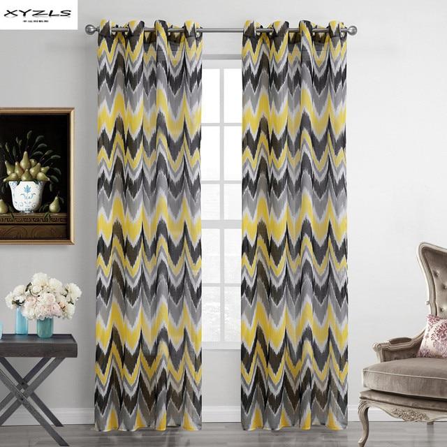 xyzls gelb und grau welle muster fenster vorh nge sheer vorhang f r wohnzimmer schlafzimmer. Black Bedroom Furniture Sets. Home Design Ideas