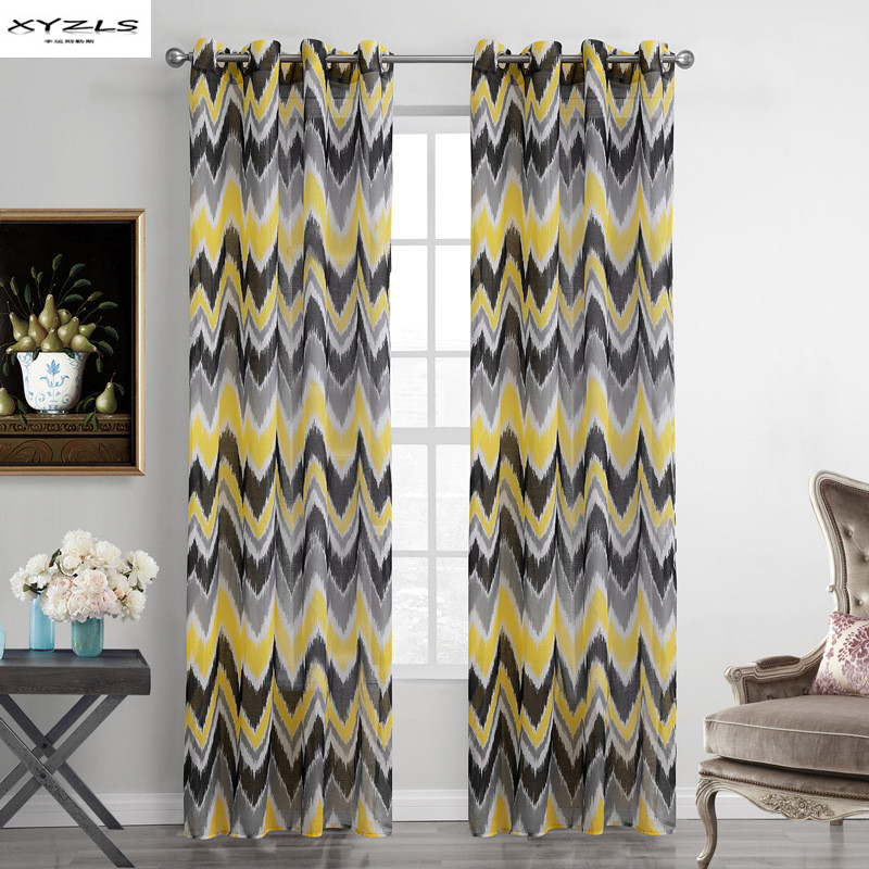 XYZLS Yellow And Grey Wave Pattern Window Curtains Sheer