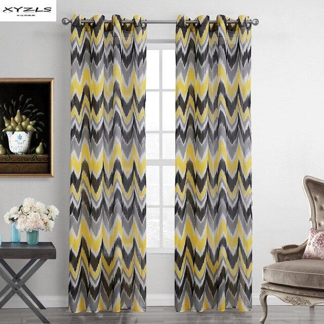 Xyzls amarillo y gris patrón de onda cortinas de ventana Sheer ...
