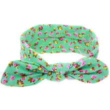New popular beautiful allover print ears headbands girls knots head wear accessories for children 12pcs/lot