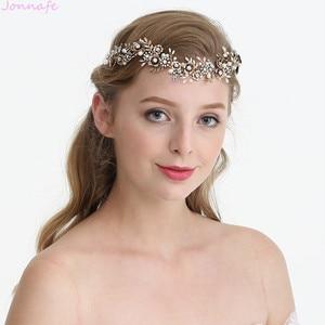 Image 2 - Jonnafe Cổ Vàng Hoa Cô Dâu Mũ Trụ Lá Đầu Cưới Tiara Tóc Cây Nho Phụ Kiện Handmade Nữ Tóc Trang Sức