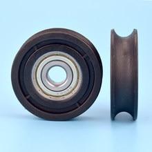 1pcs 10*48.5*14mm scanalato U ruota in nylon, 6200zz cuscinetto involucro di plastica, 1cm di diametro della pista/filo di corda ruota di guida