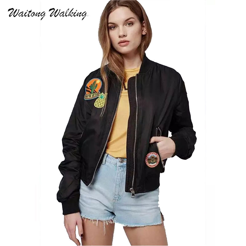 font b Women b font Coat Spring Autumn Casual Couple Badges Female Long Sleeve Flight