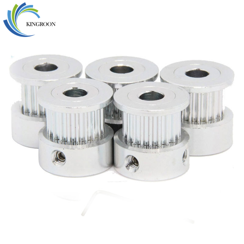 10pcs/Lot GT2 16Teeth Timing Pulley Bore 5mm Alumium Pulley For Rubber GT2 Open Belt Width 6mm 3D Printer Parts Accessory