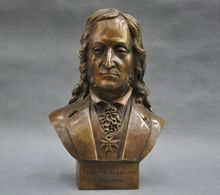 Chinese Old 8'' Italian Great Musician Niccolo Paganini Bust Bronze Statue Burners  decoration bronze factory outlets все цены