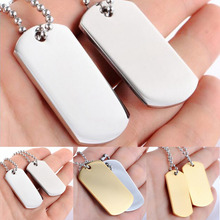 1set Stainless Steel Necklace Accessories Dog Tag Pendant Silver Gold Plated Fashion Jewelry For Men Free Ship