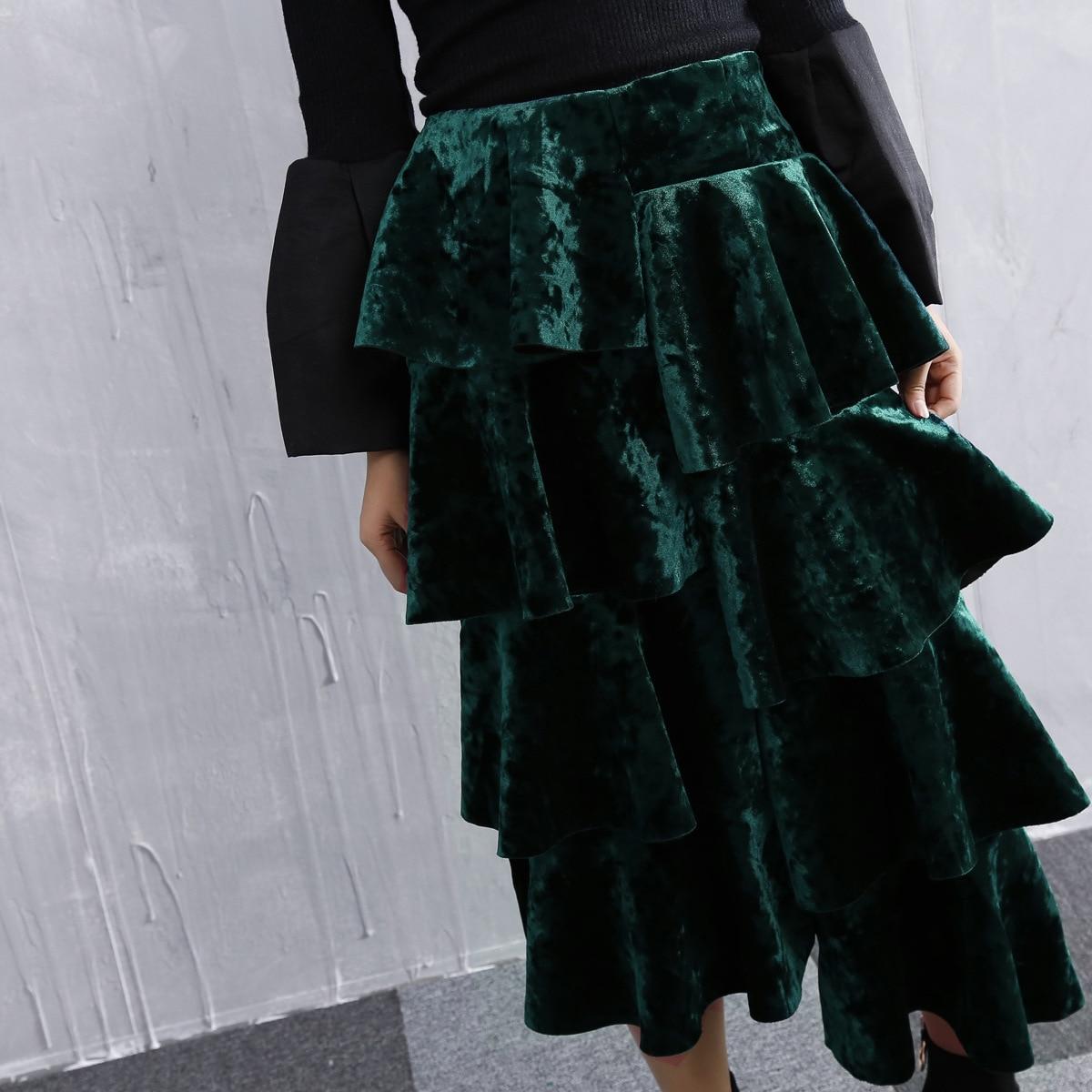 Largo Americano Falda Adelgaza Split Nuevo verde Fork Y Europeo Elástica Otoño Asimétrica Natural Negro Con Volantes Calle Cintura 2018 PIqHv8
