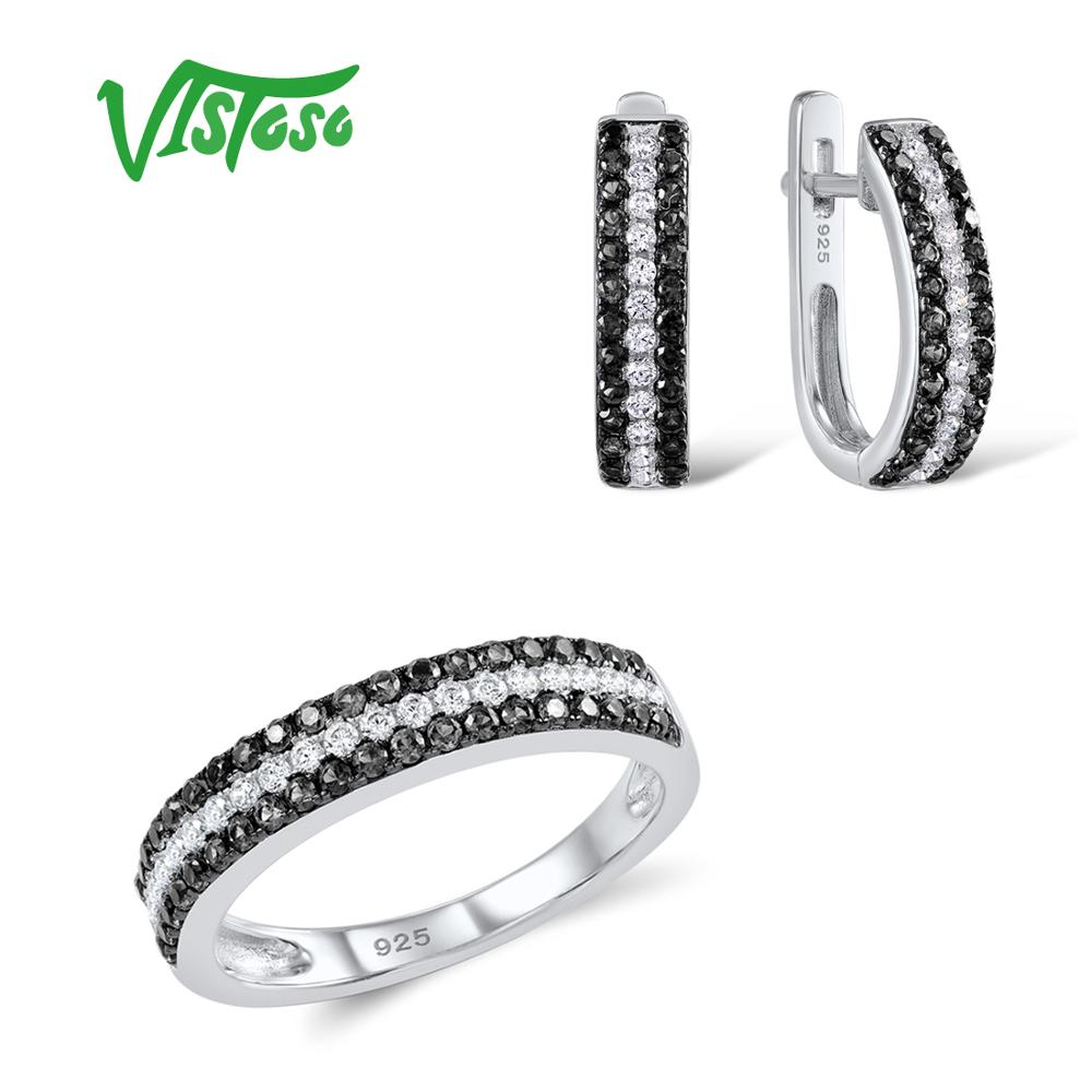 VISTOSO Jewelry Sets For Woman Black spinels Stones Jewelry Set Earrings Ring 925 Sterling Silver Fashion