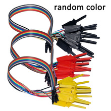 10pcs High Efficiency Test Hook Clip Logic Analyzer Cable Gripper Probe Test Clamp Kit Yellow/Red/Black/Green недорого
