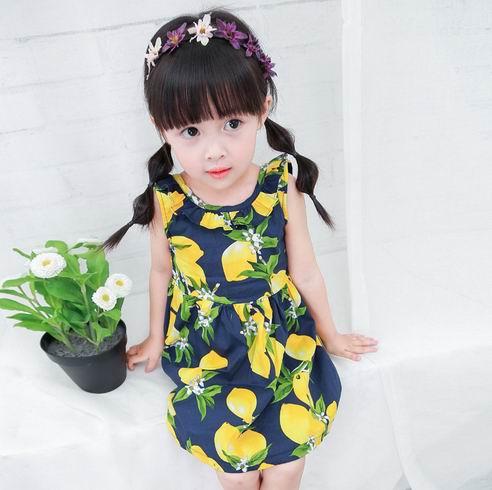 1a1f62b0930c Girls Lemon Dress Children Sundress Baby Girls Clothes V back ...