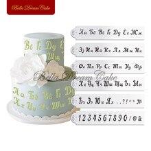 6ピース/セットロシアアルファベット&ナンバーステンシルフォンダンレターデザインステンシルカップケーキ金型ケーキ飾る金型ケーキ装飾ツール