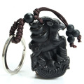 Chinese Traditional Wood Products Ebony Wood Cabbage Lucky Car Key Ring Pendant Keychain