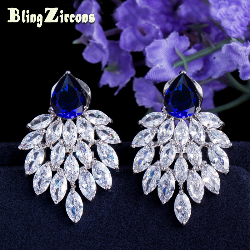 BeaQueen Superba Mare Piatră Albastră Pavată Marquise Alb CZ Cercei de Cristal Cercei Femei Regale Bijuterii pentru Cadouri E028