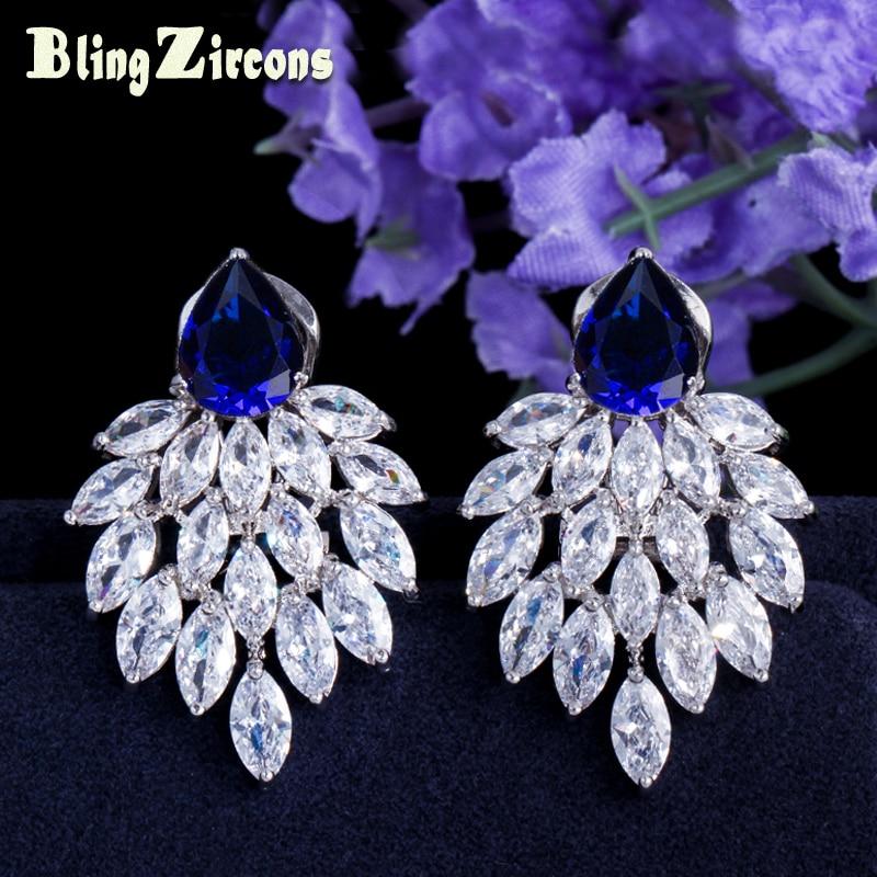 BeaQueen πανέμορφο μεγάλο μπλε πέτρα πλεγμένο λευκό μαρκίζα CZ σκουλαρίκια κρύσταλλο Stud γυναικών βασιλικά κοσμήματα κοσμήματα για δώρα E028