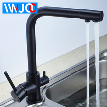 Kitchen Faucet Black 2 Ways Drinking Water Filter Tap Brass Sink Faucet Double Handle 360 Drgree Rotation Water Purification Tap 360 rotation swivel pure water faucet kitchen drinking water tap dual handles solid brass mixer tap