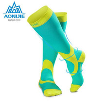 AONIJIE Women Men Leg Support Stretch Outdoor Sport Socks Knee High Marathon Socks Hiking Running Long Socks цена