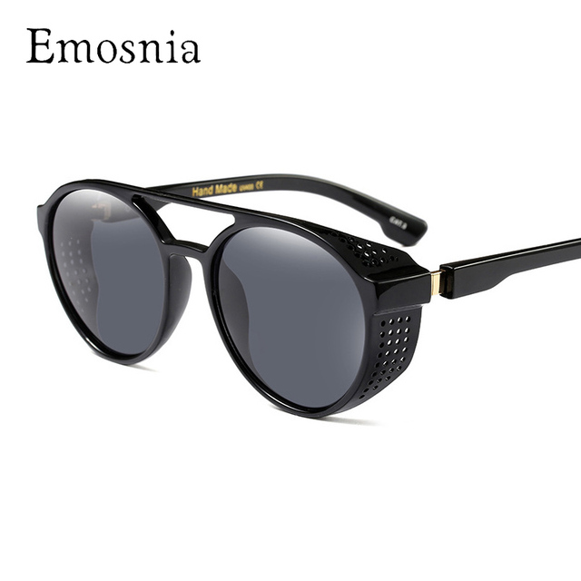 c4813b0b58 Emosnia Retro Round Steampunk Sun Glass 2017 Flat Vintage Steam Punk Brand  Designer Sunglasses Women Men