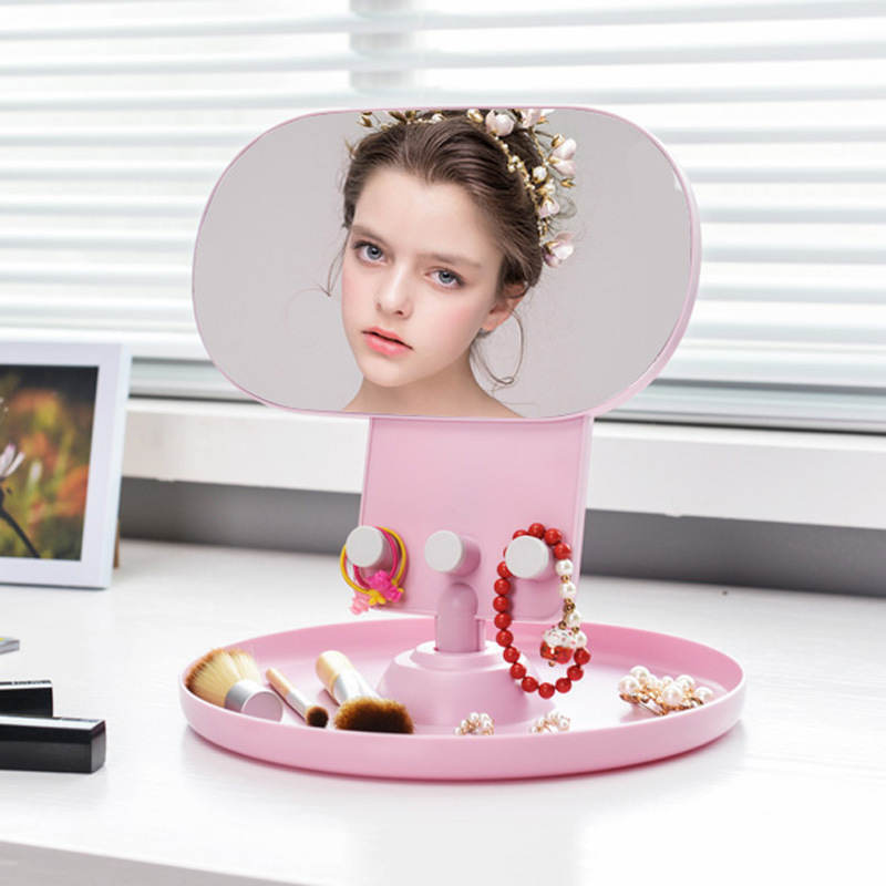 Creative Desktop Jewelry Storage Rack Portable Oval Multi-functional Bathroom Makeup Mirror Girl Lipstick Storage Box Home Decor