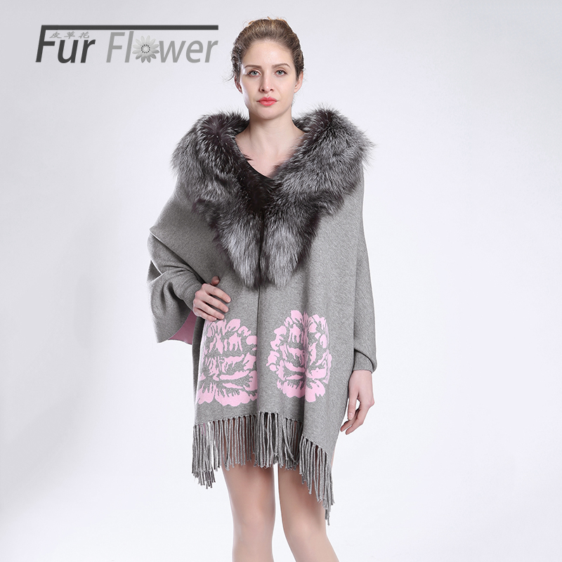 Autumn winter women lady Maternity whole fox fur collar shawl genuine fur bat coat cape shawl fur coat jacket overcoat clothing