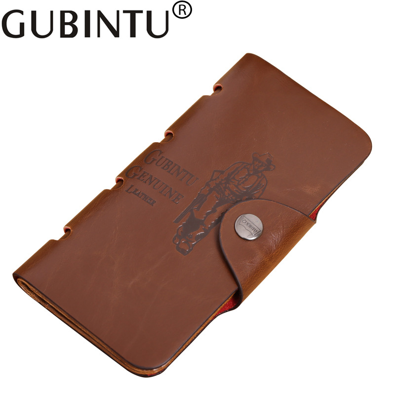 Classic Vintage Retro Male Hasp Hunter Long Brown Leather Wallet Purse Card Holder Clutch for Men