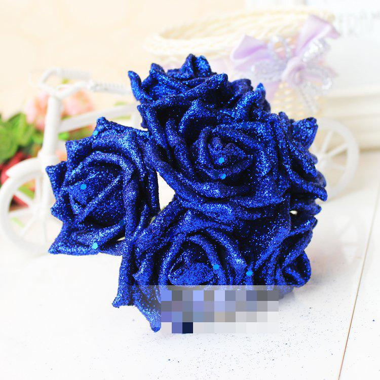 360pcs Foam Glitter Roses Single Simulation Cartoon Flower For Wedding Decoration Artificial Flowers Bouquet Gifts 7 Colors In Dried